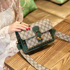 c96921253130 Summer small bag female 2018 new Korean fashion wine god bag Wild hit color  wide shoulder strap shoulder messenger bag