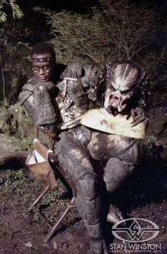 Kevin Peter Hall as the Predator, on the set of the Predator movie.