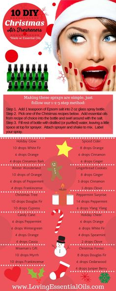 10 DIY Christmas Air Fresheners Made with Essential Oils Recipes Infographic http://www.lovingessentialoils.com/blogs/diy-recipes/10-diy-christmas-air-fresheners-for-the-holidays Make homemade sprays with holiday scents you and your family will love. Save this pin now!