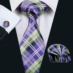 Wedding Tie Hanky Cuff-links Set Purple Plaid Pattern Handmade Silk Ties for Men Business Party Necktie