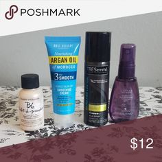 Sample hair care products Bumble and bumble pret a powder dry shampoo, marc Anthony smoothing cream, tresemme 4 hold hair spray, caviar miracle multiplying volume mist. Barely used except b&b (maybe 60% left) Makeup