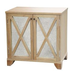 "ROBERT BEDSIDE TABLEhardwood with two antiqued mirror doorsshelf: one fixedDimensions30""w x 19.5""d x 30""h"