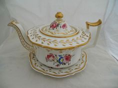 RARE ANTIQUE YATES BONE CHINA TEAPOT & STAND PAINTED WITH FINE FLOWERS & GILT.