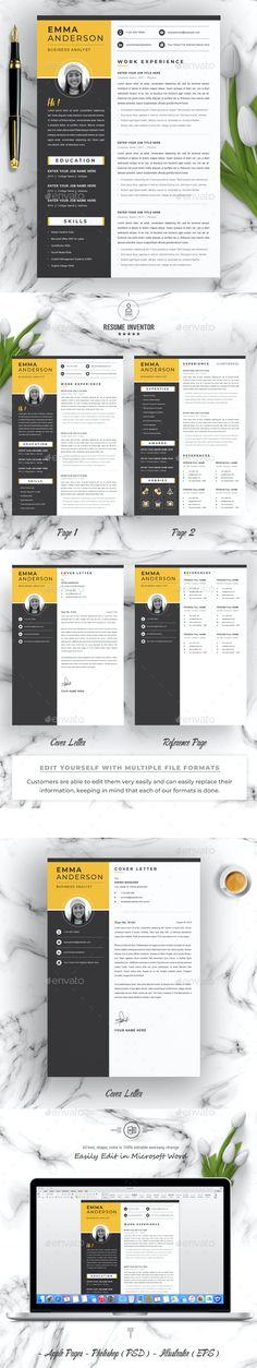 Resume Template by ResumeInventor | GraphicRiver Resume Design, Templates, Stencils, Cv Design, Vorlage, Models