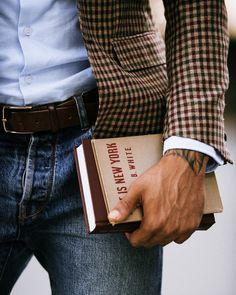 Plaid blazer, oxford shirt, denim jeans, books! ZsaZsa Bellagio – Like No Other: guys