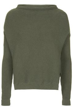 Slouchy Neck Ribbed Jumper