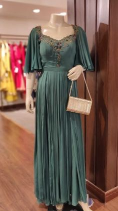 Embellished with hand embroidery. Traditional silhouettes with modern sleeves detailing. Western Gown, Western Dresses, Western Wear, Long Kurtis, Plain Dress, Indian Gowns, Lehenga Designs, Satin Gown, Designer Wear