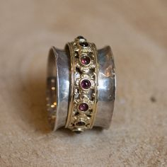 Garnets ring, bohemian ring, fidget ring, Silver gold wedding band, spin ring, eternity ring, unique uniisex ring - New beginnings 2 R1149XZ
