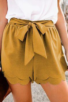 Khaki Scalloped Tie Front Shorts $30.36 Womens Khaki Shorts, Casual Shorts, Casual Outfits, Fashion Outfits, Tie Waist Shorts, Elastic Waist, Short Models, Fashion Project, Linen Shorts