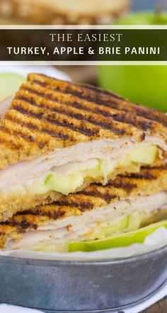 """""""This Turkey, Apple and Brie Panini is the perfect fall-inspired sandwich. It's packed with fresh turkey, granny smith apples, creamy brie cheese and then toasted until golden. Brie Sandwich, Apple Sandwich, Soup And Sandwich, Sandwich Ideas, Panini Recipes, Lunch Recipes, Fall Recipes, Cooking Recipes, Dishes Recipes"""