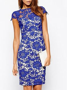Blue Crochet Lace Cut Out Back Split Bodycon Dress | abaday