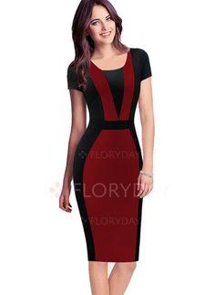Dresses - $29.87 - Cotton Polyester Color Block Short Sleeve Knee-Length Elegant Dresses (1955100183)