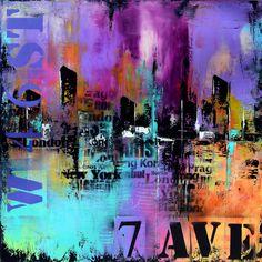 Extra Art abstrait grand grande peinture abstraite urbaine