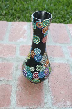 Molly: Multi Colored hand dot painted Wooden Vase. $40.00, via Etsy.
