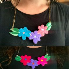 Collares bordados por @anahirossi Embroidery necklaces. Hibiscus flower