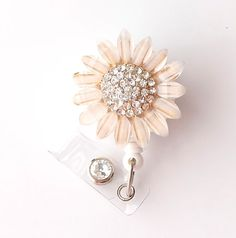 Gold Sunflower Bling - Pretty Badge Holder - Bling Badge Reel - Stylish ID Badge Clip - Nurse Jewelry - Teacher Gift - RN Badge BadgeBlooms on Etsy, $18.00