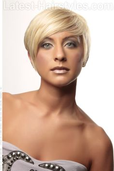 Short Blond Asymmetrical Hairstyle With Long Fringe