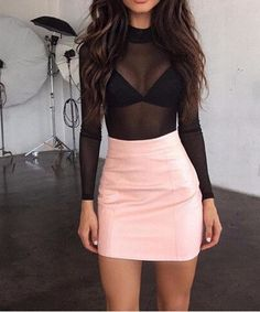 Leather Tight Package Hip Mini Skirt