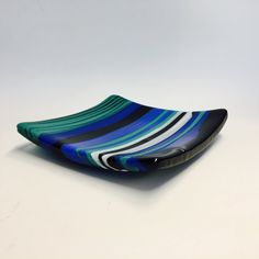 Excited to share the latest addition to my #etsy shop: Art glass platter - Blue - Green - Black - White - Square - Art glass plate - Fused glass platter - Decorative - Functional - Wedding Gift #art #fused glass #platter #kiln work #wedding gift #art glass # square platter