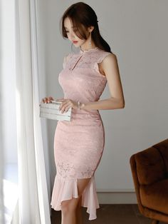Wholesale Stylish Stand Collar Fitted Sleeveless Dress NHA042037PN | Wholesale7.net Pretty Asian Girl, Beautiful Asian Girls, Dresses For Teens, Club Dresses, Midi Dresses, Dresses Online, Cool Outfits, Fashion Outfits, Womens Fashion