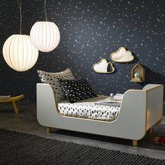 quarto infantil unissex, madeira, cinza, azul marinho, estrelas, iluminação Mais