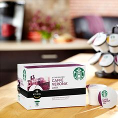 Caffè Verona® K-Cup® Packs  A full-bodied, multi-region blend of coffees with the sweet touch of Italian Roast. Tasting Notes  Dark Cocoa & Roasty Sweet Enjoy this with:  Chocolate truffles and dinner guests. Roast Dark    $19.95 24 servings  http://websites-buy.com/starbucks-coffee-store