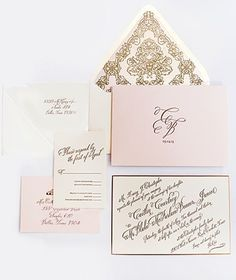 Set the stage for your glam wedding with paperie. The Ceci New York Caitlin & Blake Invitation Suite features a gold letterpress script, gilded bevelled edge, custom envelope liner and personalized monogram.