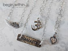 Angel Wing Necklace, Om Necklace, Namaste Necklace, Sacred Heart Necklace | silver layering necklaces by Begin Within Jewelry on #etsy