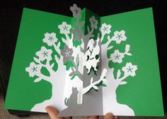 Man in a tree pop-up card