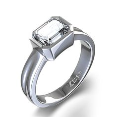 Zoara: ctw Bezel Set Emerald Cut Diamond Ring in Platinum. But with a reclaimed/recycled emerald, not a diamond. Emerald Cut Diamond Engagement Ring, Emerald Cut Diamonds, Rose Gold Engagement Ring, Engagement Ring Settings, Diamond Shapes, Engagement Rings Australia, Beautiful Rings, Bling, Diamond Jewelry