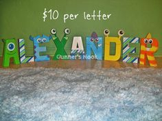 Hey, I found this really awesome Etsy listing at https://www.etsy.com/listing/176620059/monsters-inc-character-letter-art
