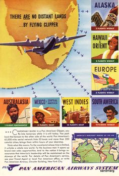 1940 Pan Am Advertisement Central America, South America, Pan Am, Vintage Travel Posters, Vintage Airline, Travel Ads, Moving To Los Angeles, Flying Boat, Old Advertisements