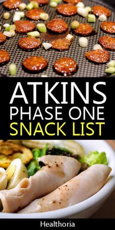 Atkins Diet Phase 1 Snack List The big meals are pretty easy to figure out. Just eat lots of meat. Between meals you should use the Atkins diet phase 1 snack list. Atkins Snacks, Atkins Diet Recipes Phase 1, Atkins Recipes, Low Carb Atkins Phase 1, Atkins Lunches, Atkins Dinners, Clean Eating, Healthy Eating, Dieta Atkins