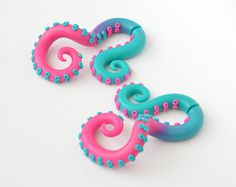 Fake Gauge Earrings or Ear Plugs, Octopus Gauge, Tentacles Gauge, Earrings Fake Gauges | 78162