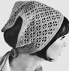 Ponytail Crocheted Kerchief - for Trish? Boho Crochet, Knit Or Crochet, Crochet Fashion, Crotchet, Crochet Beanie, Knitted Hats, Crochet Hats, Crochet Headbands, Crochet Hair Accessories