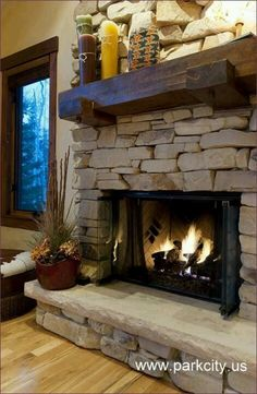 Rock fireplace with awesome mantle shabby chic cottage cabin bungalow. Fireplace Decor, Rustic Fireplaces, Home Fireplace, Fireplace Remodel, Rustic House, Cozy Fireplace, Cabin Fireplace, Fireplace Shelves, Family Room