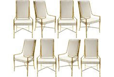 One Kings Lane - Dining Room Discoveries - Suede & Brass Dining Chairs, Set of 8