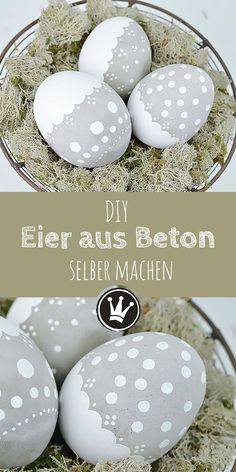 Wetterfeste Osterdeko: DIY Osterei aus Beton – Dekoideenreich DIY spring and Easter decoration: pour and paint eggs out of concrete. I'll show you how to do it! Have fun being creative! Diys, Diy And Crafts, Crafts For Kids, Decor Crafts, Home Decor, Manualidades Halloween, Diy Easter Decorations, Easter Centerpiece, Diy Décoration