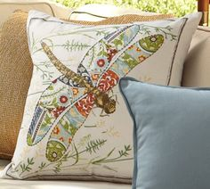 Anna Marie Embroidered Dragonfly Outdoor Pillow | Pottery Barn