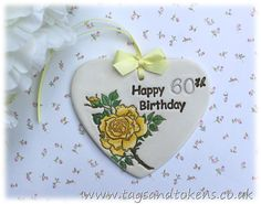 Happy 60th Birthday Gift Heart or Alternative Birthday Card. Hanging Heart With…