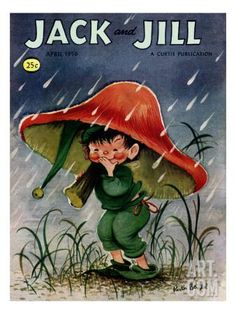 Elf in the Rain - Jack and Jill, April 1956 Giclee Print by Ruth Bendel at Art.com