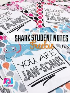 FREE FlapJack Shark Themed Student Message Notes -  Your students will love these shark-themed teacher notes! And they're provided in PowerPoint form with blank templates, so you can change the message to whatever you wish. :)