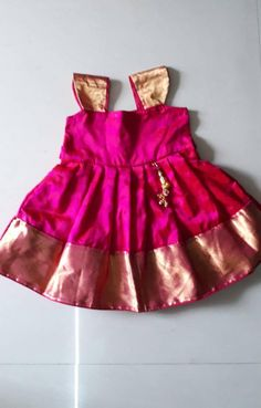 Indian traditional silk frock for girl baby - infant dress - party wear - pattu pavadai -lehanga an Baby Frock Pattern, Frock Patterns, Baby Girl Dress Patterns, Baby Girl Frocks, Frocks For Girls, Dresses Kids Girl, Baby Dresses, Funky Dresses, Girls Frock Design