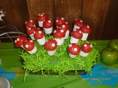 Marshmallow, 1/2 donut hole, red candy melts & white choc.chips. and Voila! Mushrooms! These were easy and fun to make. A huge hit at my daughter's Smurf themed bday party!