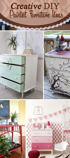 Creative DIY Painted Furniture Ideas. Add a unique touch to your home decor easily without spending much money!