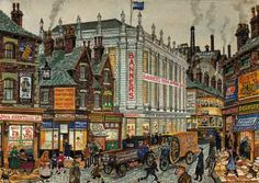 George Cunningham 'Attercliffe Shops' #socialsheffield #sheffield #art Sheffield England, Sheffield Art, Sources Of Iron, Derbyshire, Fairy Houses, Love Art, Old Houses, Vintage Photos, Steampunk