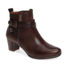Women's Pikolinos Segovia Bootie ($170) ❤ liked on Polyvore featuring shoes, boots, ankle booties, olmo leather, leather boots, stacked heel boots, stacked heel bootie, genuine leather boots and leather harness boots