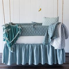 This Chesapeake Crib Bumper in the color Pacific is perfect for little girls or boys - Gender Neutral Baby Bedding - Bella Notte Linens at Lily Lane Home Baby Crib Bumpers, Baby Bumper, Baby Crib Sheets, Crib Mattress, Baby Cribs, Bed Sheets, Crib Sets, Crib Bedding Sets, Comforter Sets