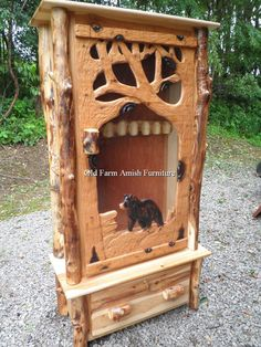 Aspen Log Gun Cabinet - Handcarved - Old Farm Amish Furniture - Dayton PA 16222 (814) 257-8911 | Aspen Log Furniture - Amish PA | Pinterest | Aspen and ... & Aspen Log Gun Cabinet - Handcarved - Old Farm Amish Furniture ...