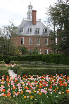 Governor's Palace, Colonial Williamsburg. I was there in the heat of summer.  This makes me want to re-visit it in the springtime.
